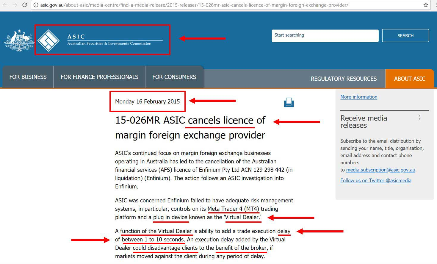 ASIC cancels license of a Forex Broker