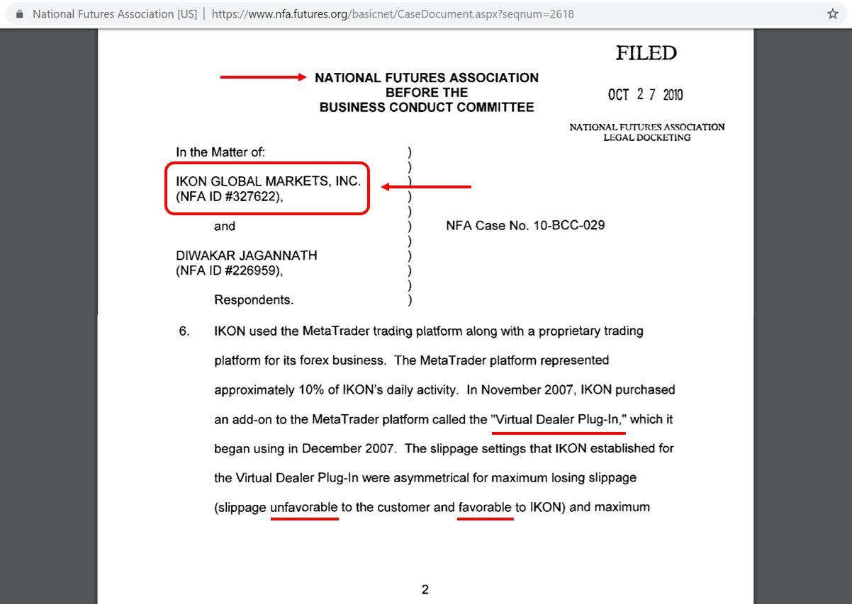 NFA action against IKON Broker